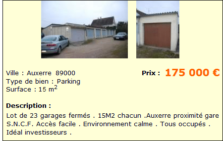 Annonce investir parking